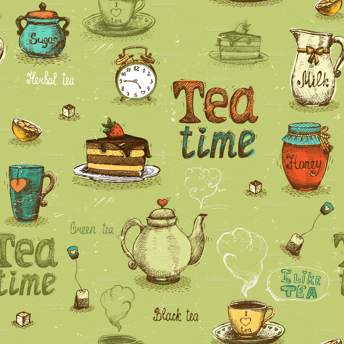 Seamless tea patterns